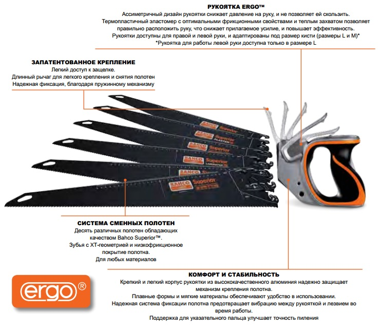 ножовки со сменными полотнами BAHCO